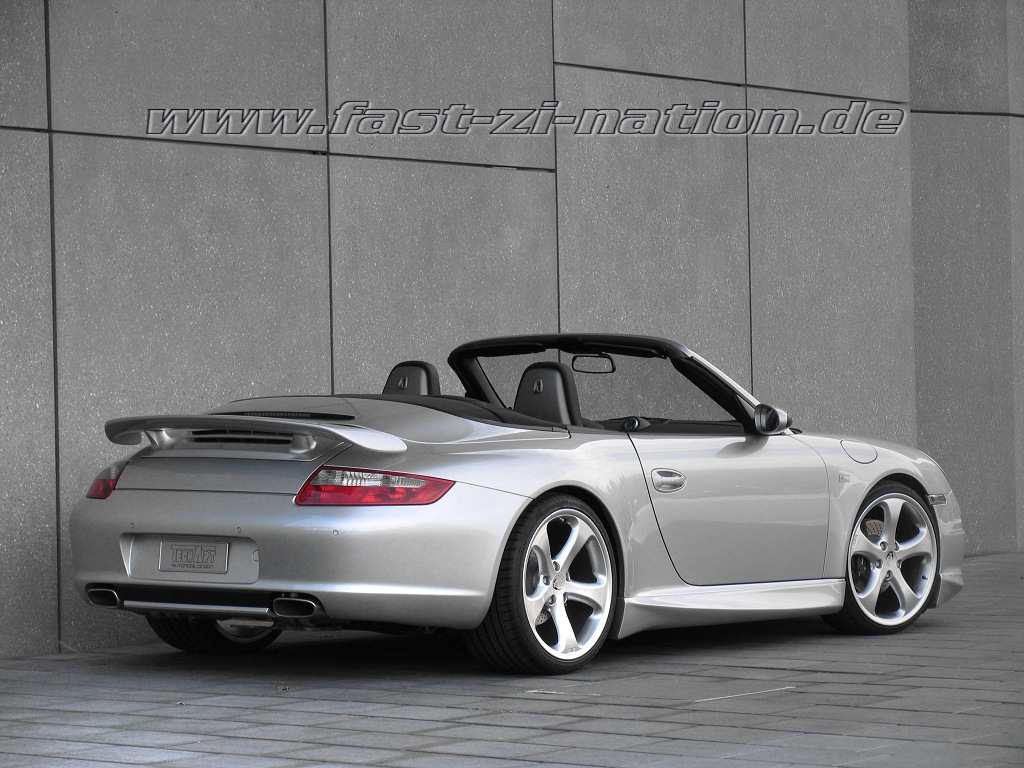 desktop wallpaper: Porsche 911 (997) Cabriolet by TechArt in 1024x768 [right-rear view]