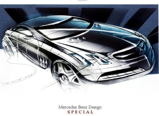MERCEDES DESIGN SPECIAL (Mercedes CL-class exterior draft with angled headlights)