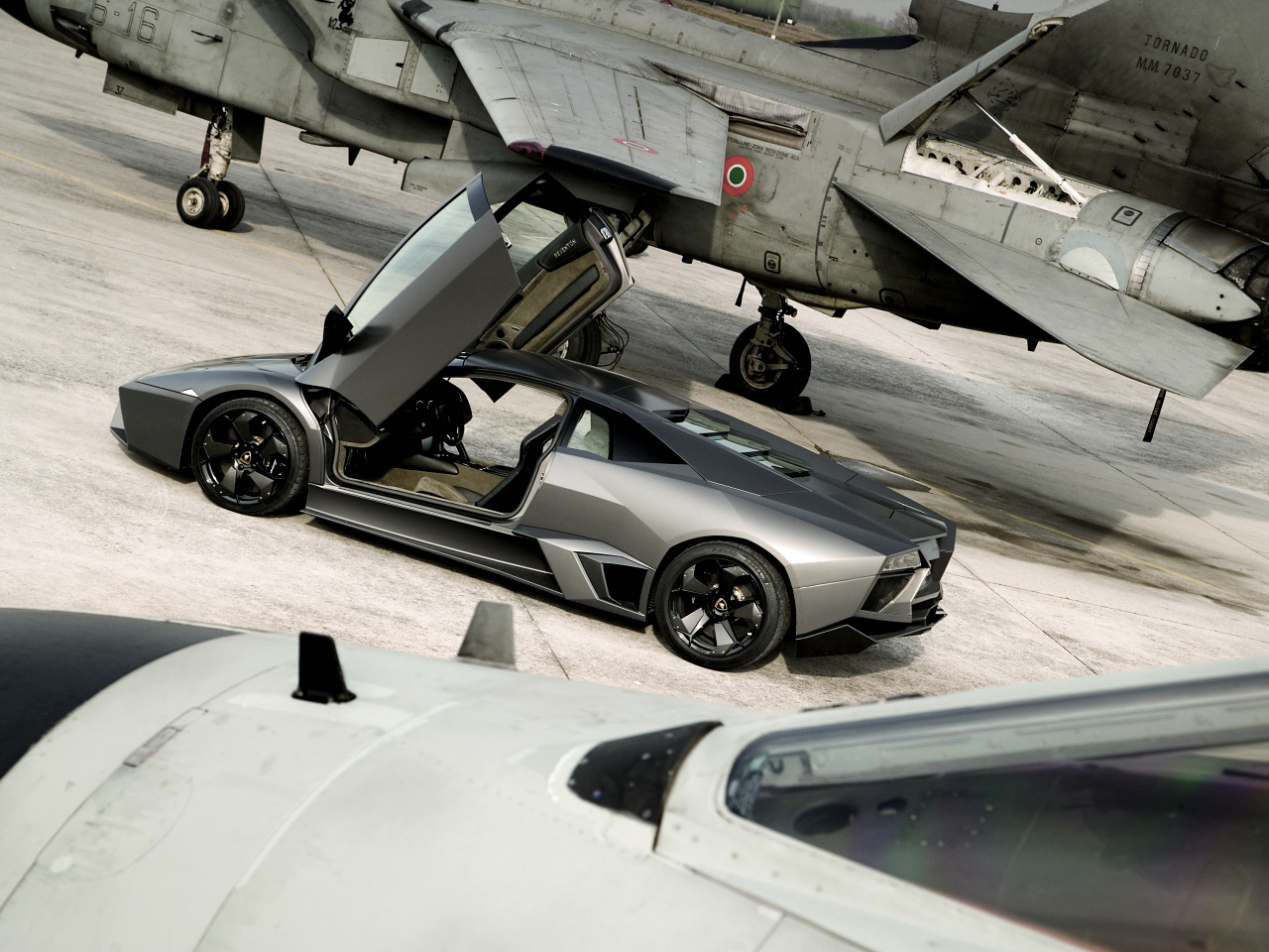 Lamborghini Reventon and jet fighters