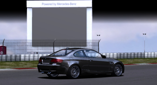BMW M3 in front of a Mercedes advertisement