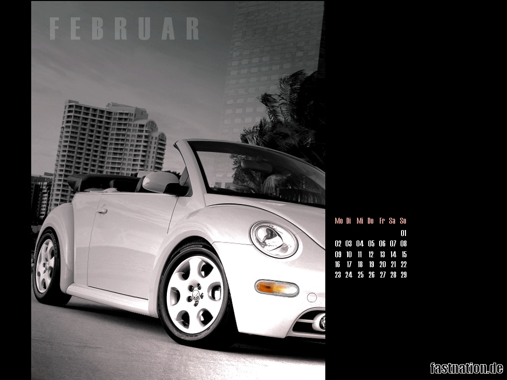 desktop calendar sheet in 1024x768: VW New Beetle Convertible