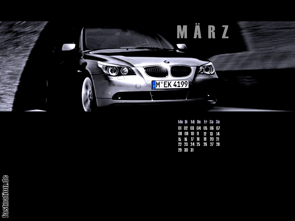 desktop calendar sheet in 1024x768: New BMW 5-series