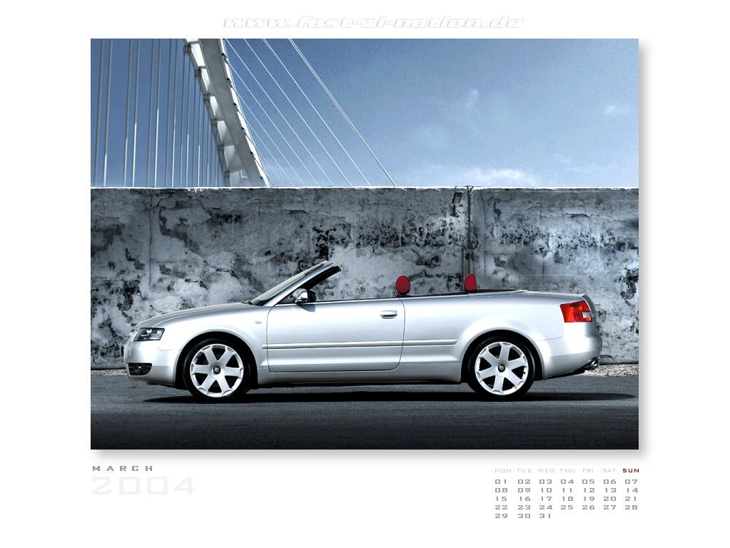 desktop calendar for March 2004 in 1024x768: Audi S4 Convertible